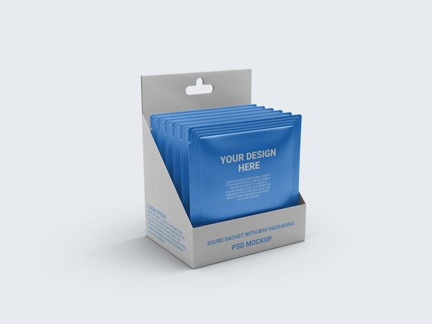 Mockup sachet in a display box packaging Premium Psd