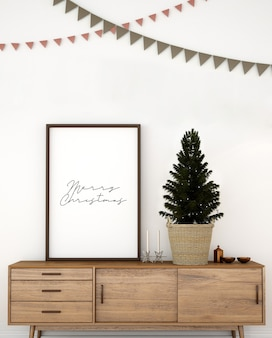 Mockup of scandinavian living room interior design with christmas tree
