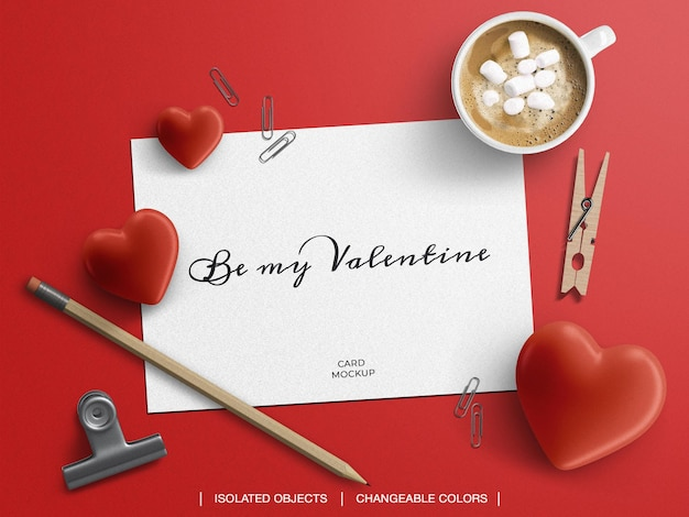 Mockup and scene creator of greeting post card with valentine's day decoration concept