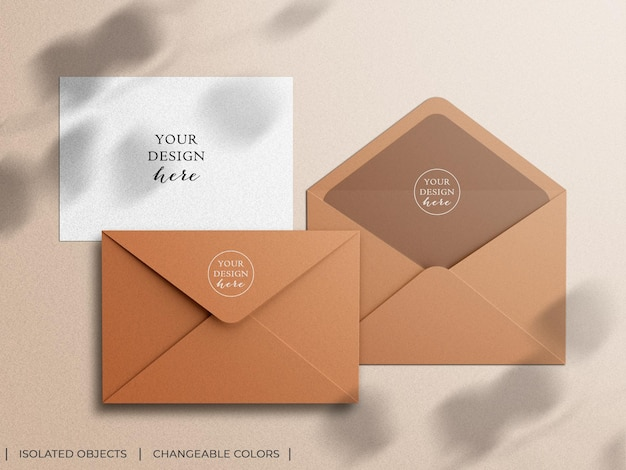 Mockup scene creator of stationery envelope and invitation