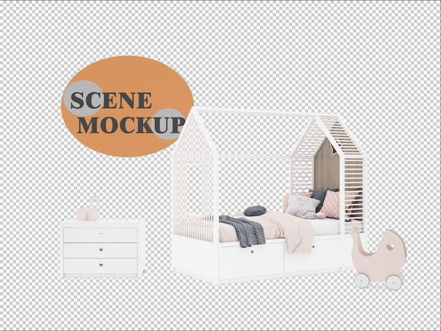 Mockup scene decorated with kids house bed