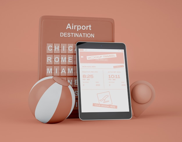 Mockup of screen digital tablet. summer trip and travel concept.