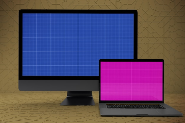 Mockup screen of laptop and pc