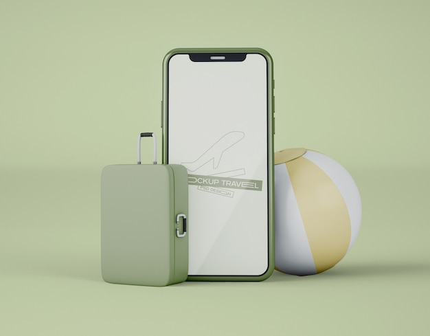Mockup of screen smartphone. summer trip and travel concept.