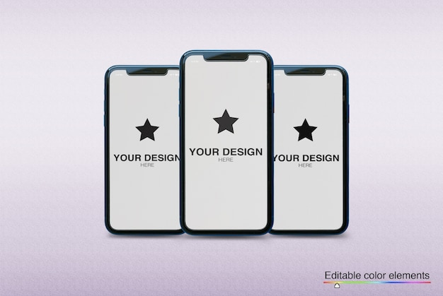 Mockup set of 3 smartphones