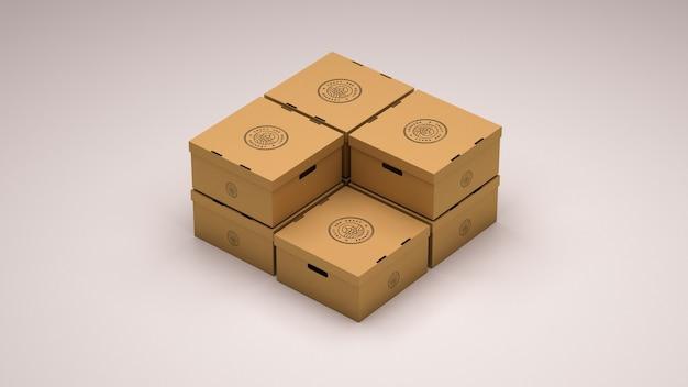 Mockup of seven cardboard boxes