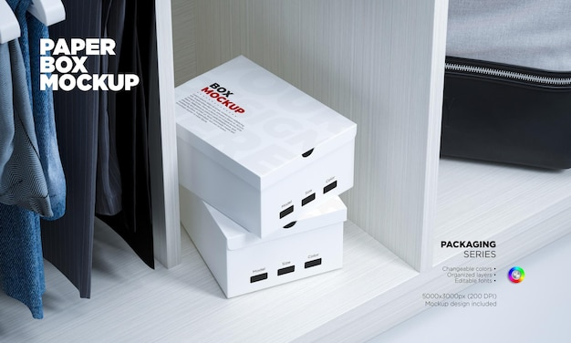 Mockup shoe boxes in 3d rendering