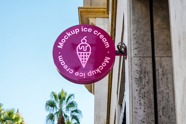 Mockup sign ice cream city