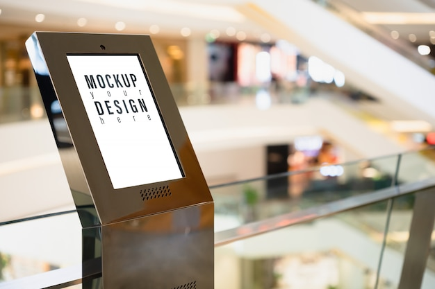 Mockup signboard lightbox with blurred shopping mall