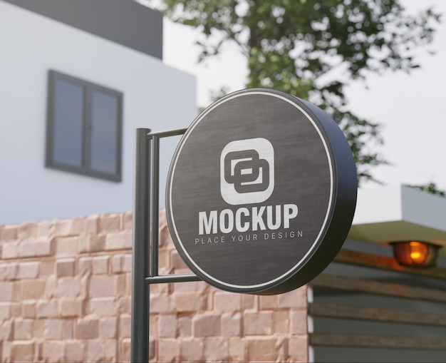 Mockup signboard rounded black and white