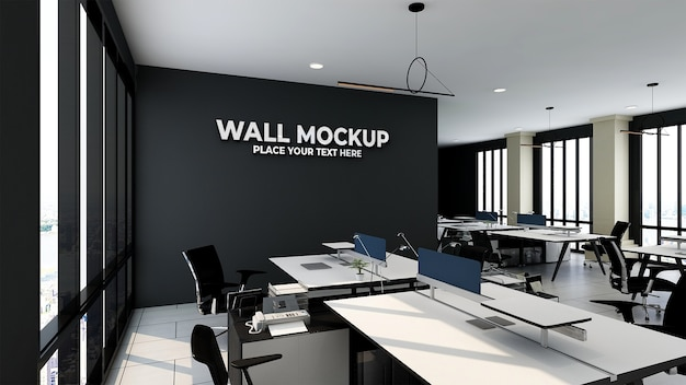 Mockup of silver office logo in modern business indoor workspace