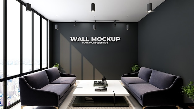 Mockup of silver office logo in simple classic business indoor workspace