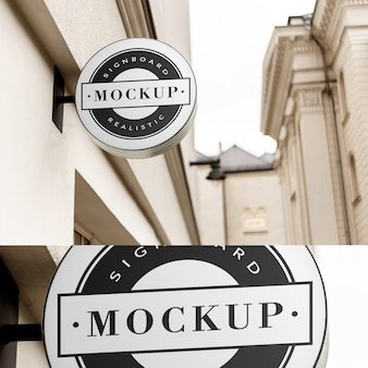 Mockup of  simple circle shaped neon signboard in  clean classic architecture area
