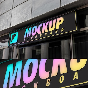 Mockup of simple minimal black neon signboard on modern architecture building