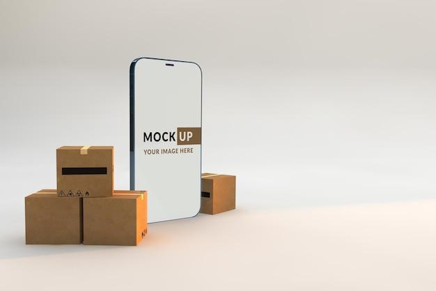 모형 스마트 폰 및 골판지 상자 개념