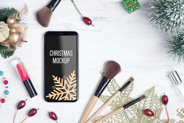 Mockup smartphone for beauty christmas new year concept