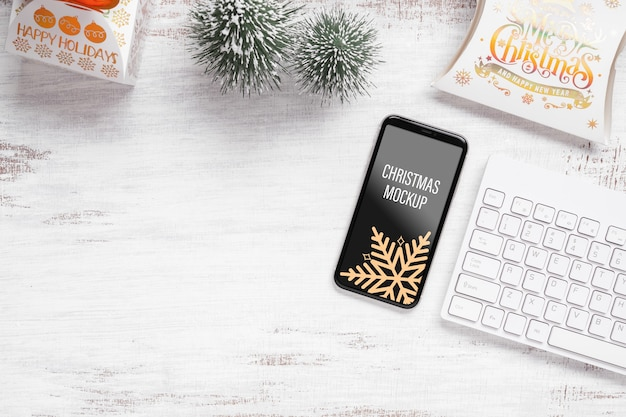 Mockup smartphone for christmas and new year decoration