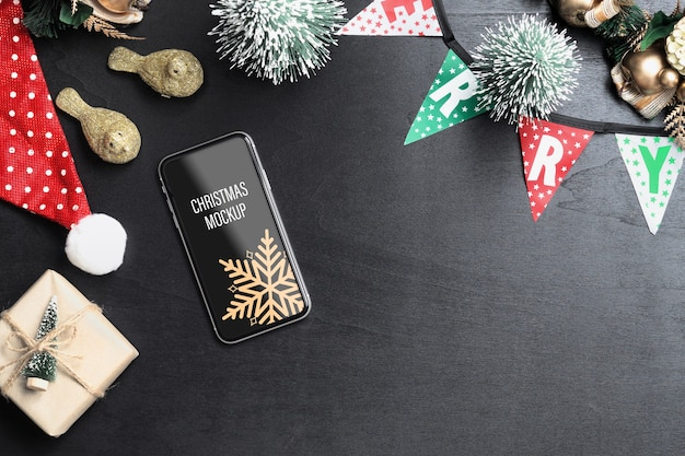 Mockup smartphone for christmas and new year
