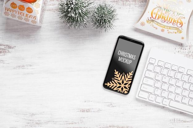 Мокап смартфона для украшения рождества и нового года