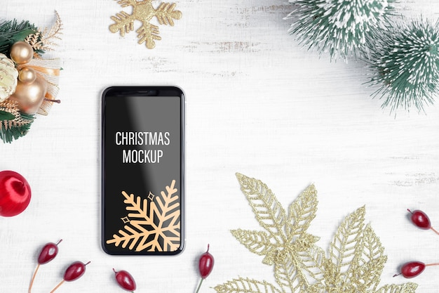 Мокап смартфона на рождество и новый год