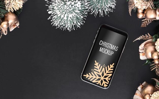 Мокап смартфона на рождество и новый год Premium Psd