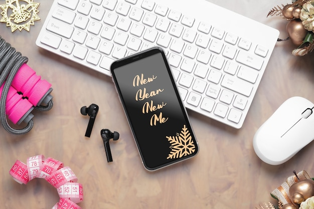Mockup smartphone for new year healthy goals background concept.