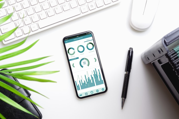 Mockup of smartphone on office desk