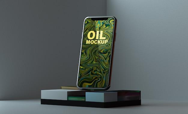 表彰台の正方形のモックアップスマートフォン