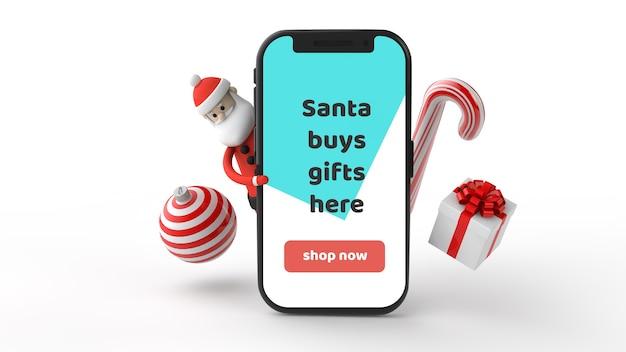 크리스마스 사탕 롤리팝 및 현재 모형 스마트 폰