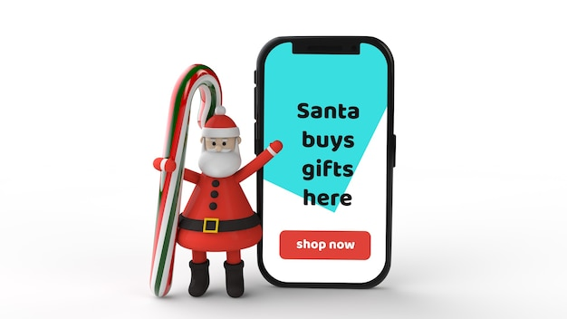 Mockup smartphone with christmas candy lollipop, santa and present