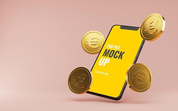 Мокап смартфона с плавающими золотыми монетами евро