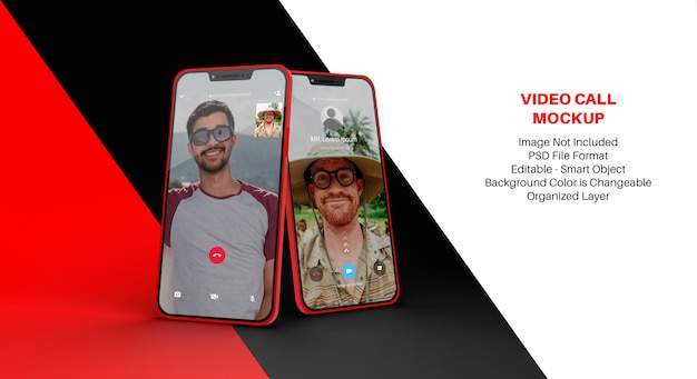 Mockup of smartphone with video call