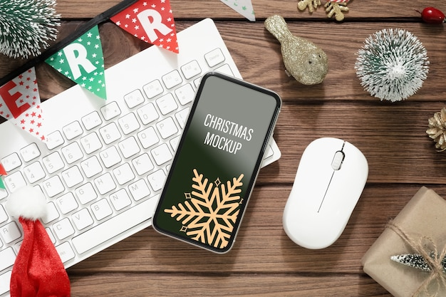 Mockup smartphone on wood background for christmas and new year background