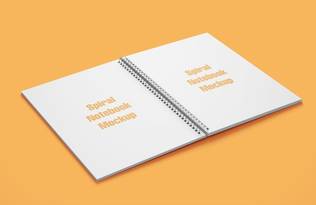 Mockup of spiral notebook open