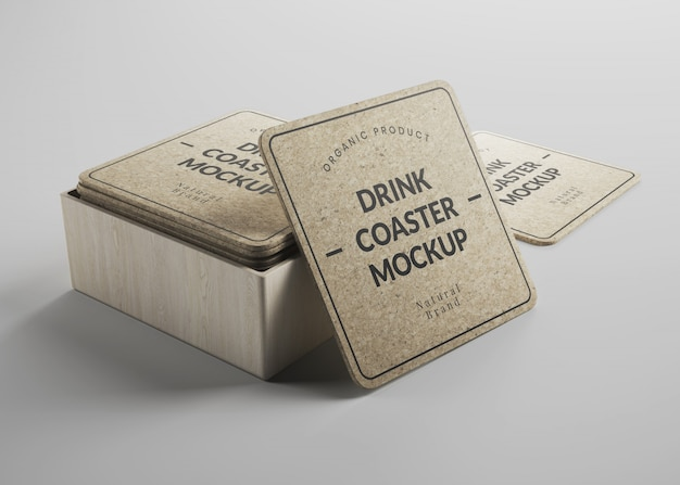 Mockup of square cork drink coasters with round edges in isometric view