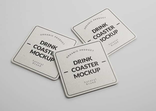 Mockup of square paper drink coasters with round edges in isometric view