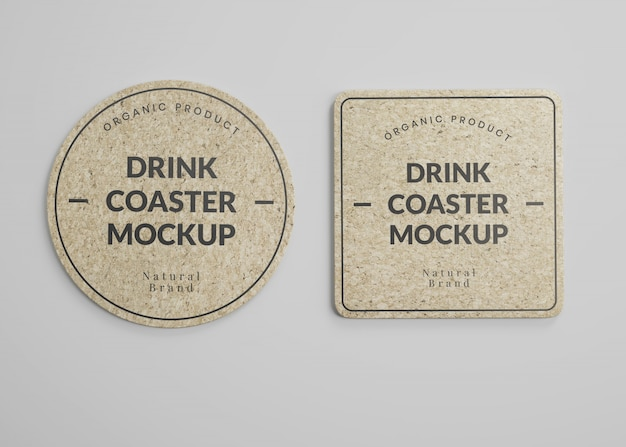 Mockup of square and round cork drink coasters in top view