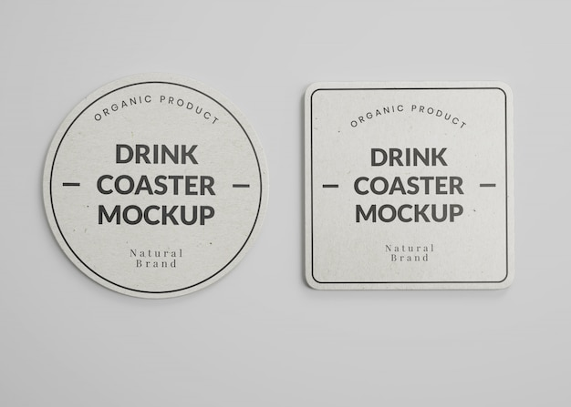 Mockup of square and round paper drink coasters in top view