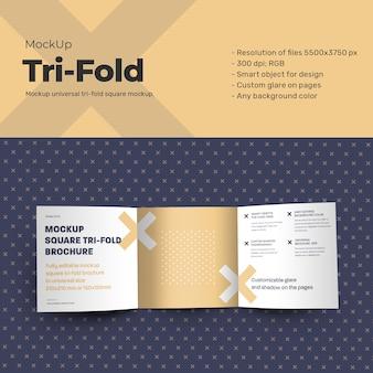 Mockup square tri-fold 브로셔