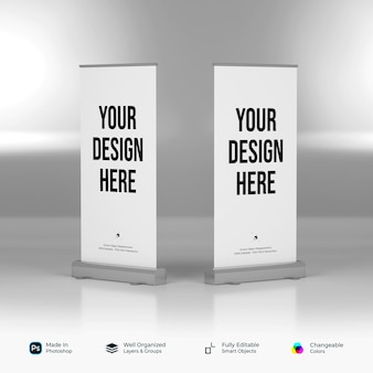 Mockup of standing banner and roll up banner