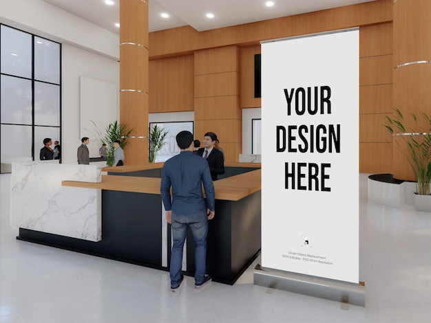 Mockup standing banner and roll up banner