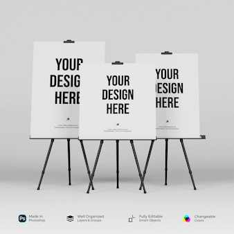 Mockup standing banner and tripod 3d rendering isolated