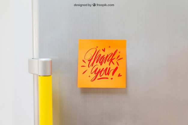 Mockup of sticky note on fridge
