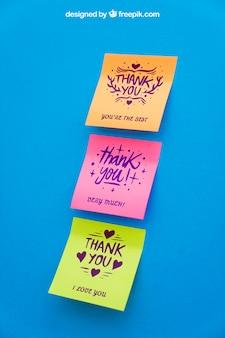 Mockup of sticky notes on blue background