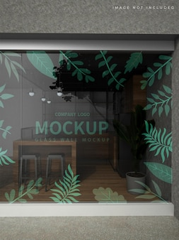 Mockup of store glass walls Premium Psd