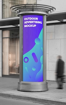 Mockup of the street city outdoor advertising vertical banner poster round stand