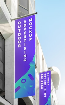 Mockup of the street city outdoor poster banner advertising on the vertical flag