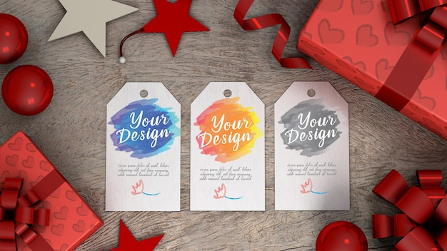 Mockup tag gift with white paper rectangle shape