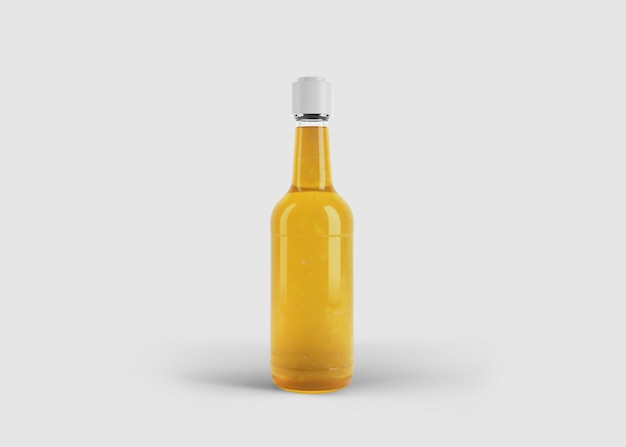Mockup of tall stylish juice or sauce bottle with custom label in clean studio scene
