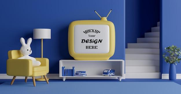 귀여운 토끼 인형 3d 인테리어 렌더링 디자인 모형 텔레비전 프레임